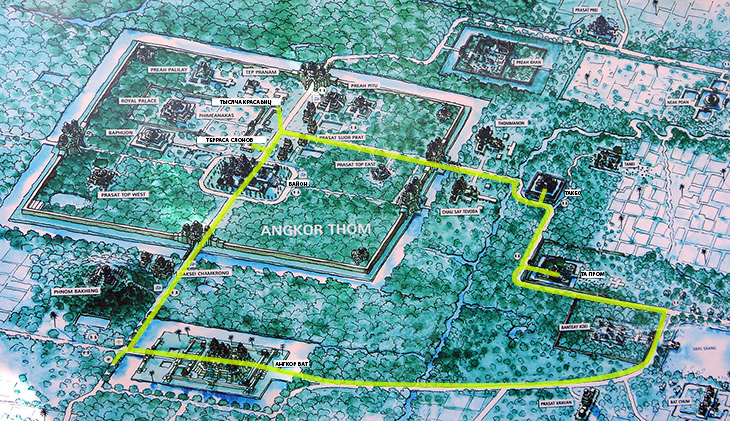 Схема храмов Ангкора.