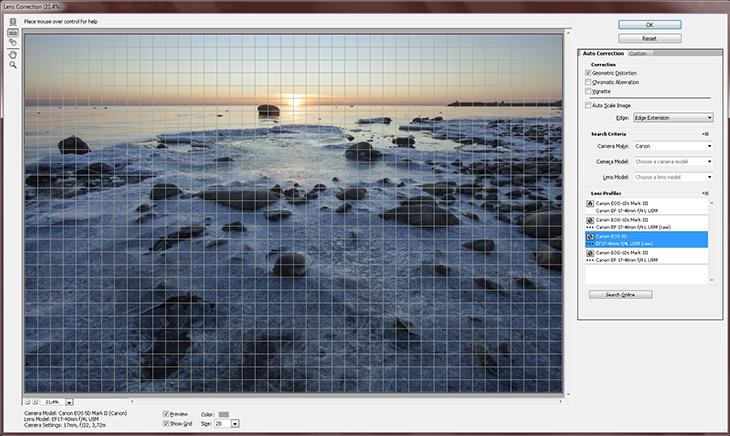 Фильтр Lens Correction без изменений